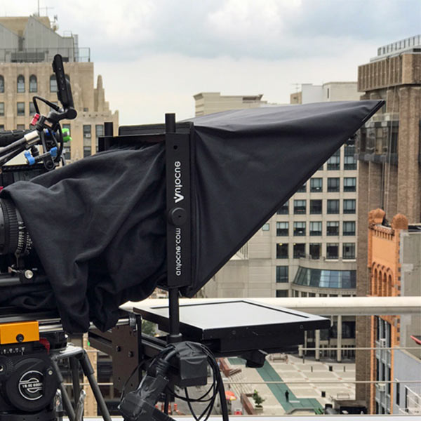 Teleprompter Autocue setup on roof