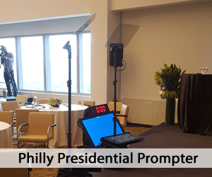 Presidential Prompter setup in living room - table and operator - Philly