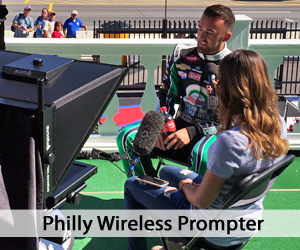 Wireless Prompter outside - talent and operator next to it - people in background - Philly