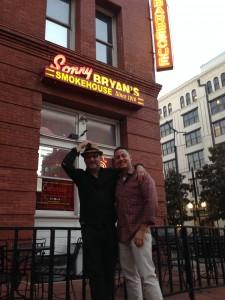 Michael Gonzalez with Director Sam Erickson, at Sonny Bryan's Smokehouse BBQ in Dallas, Texas.