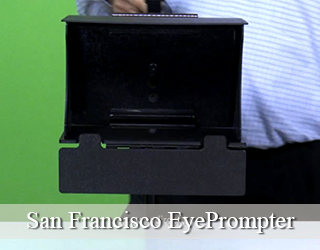 Man holding EyePrompter unit - green background - San Francisco