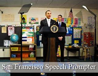 President Obama reading from Presidential Prompter (man in background) - San Francisco