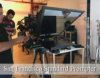 Standard Teleprompter on set - operators behind it - San Francisco