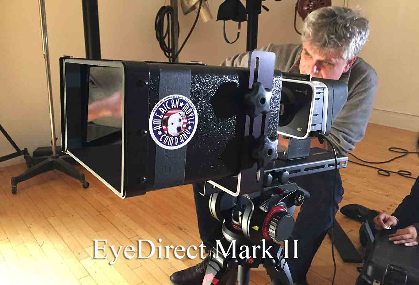 Cameraman with silver hair operating an EyeDirect Mark II with a Blackmagic 4K camera
