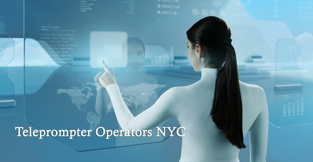 Image of NYC female Teleprompter Operator in high tech virtual environment