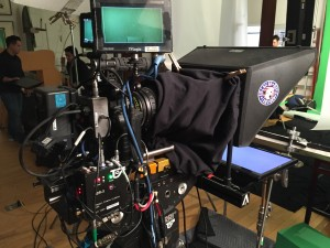 Teleprompter with professional camera and monitors