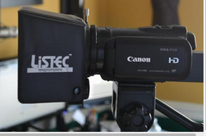Listec iPad teleprompter on Canon Camera by TeleprompterRental.com
