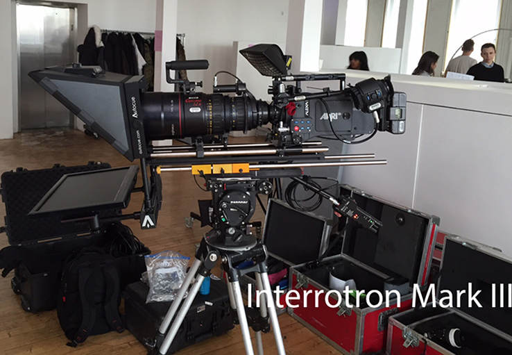 TeleprompterREntal.com Interroton Mark III on tripod with Arriflex camera and large lens
