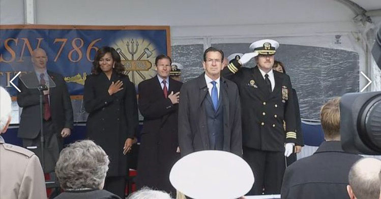 FIRST LADY MICHELLE OBAMA AND DIGNITARIES AT COMMISSIONING OF USS ILLINOIS