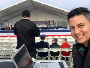 MICHAEL GONZALEZ - TELEPROMPTING AT USS ILLINOIS COMISSIONING CEREMONY