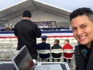 MICHAEL GONZALEZ - TELEPROMPTING AT USS ILLINOIS COMISSIONING CEREMONY