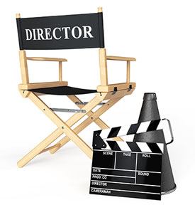 Director's chair and clap board