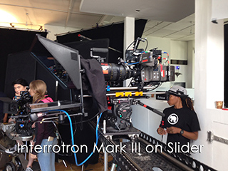 Interrotron on set - crew members around busy set