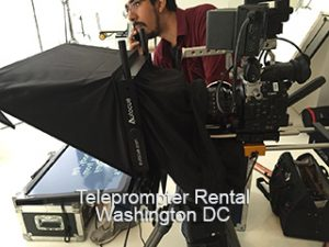 Teleprompter on set with camera and tripod