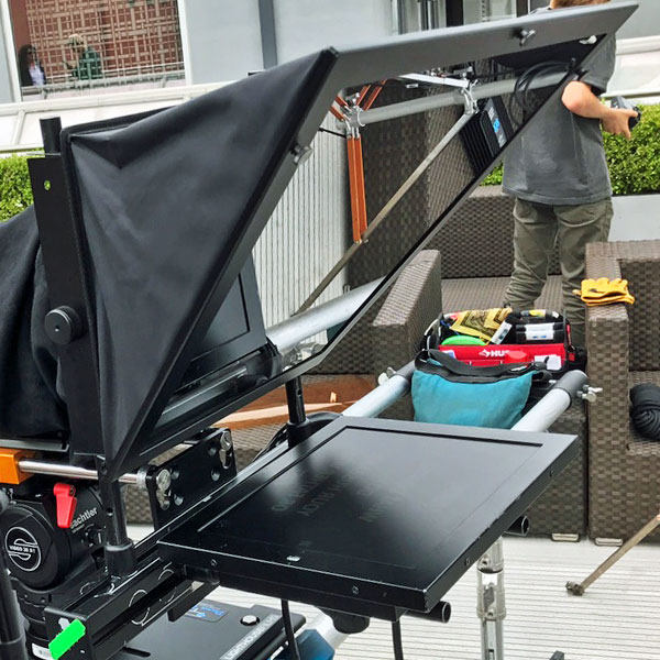 Teleprompter setup on roof