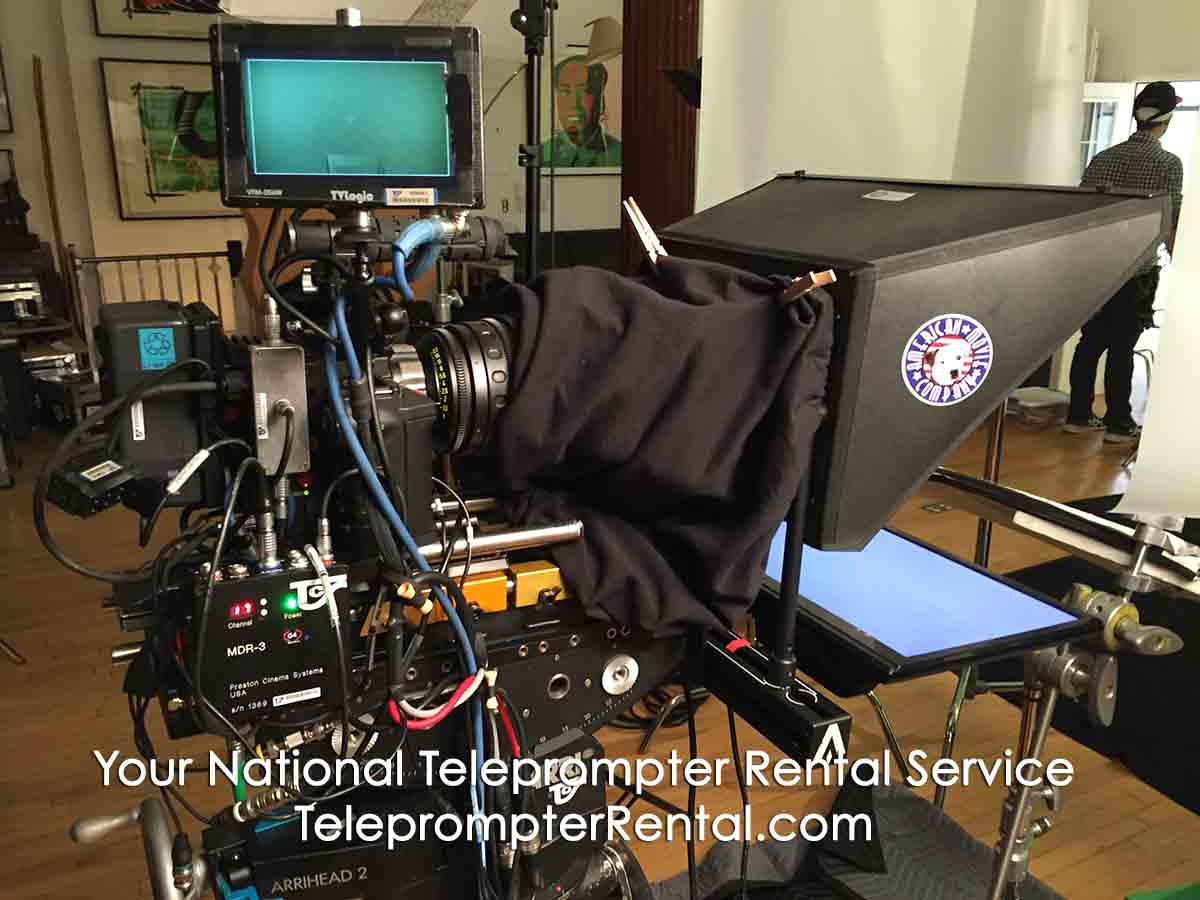 Prompter/screen setup - Your National Teleprompter Rental Service - TeleprompterRental.com caption