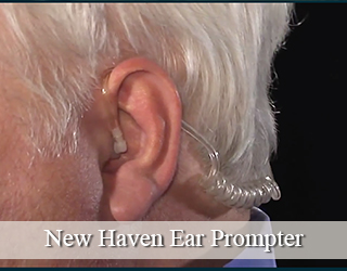 Man's ear close up with Ear Prompter - New Haven