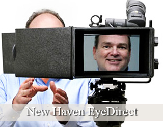 EyeDirect - man's face seen on screen - he's to the left - New Haven