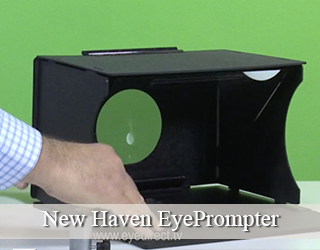 Eye Prompter unit set against green screen