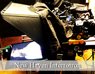 Interrotron unit set up on set - New Haven