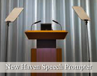 Presidential Teleprompter aka Speech Prompter and Podium - grey curtains - New Haven