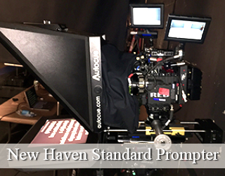 Standard Teleprompter and screens on set - New Haven