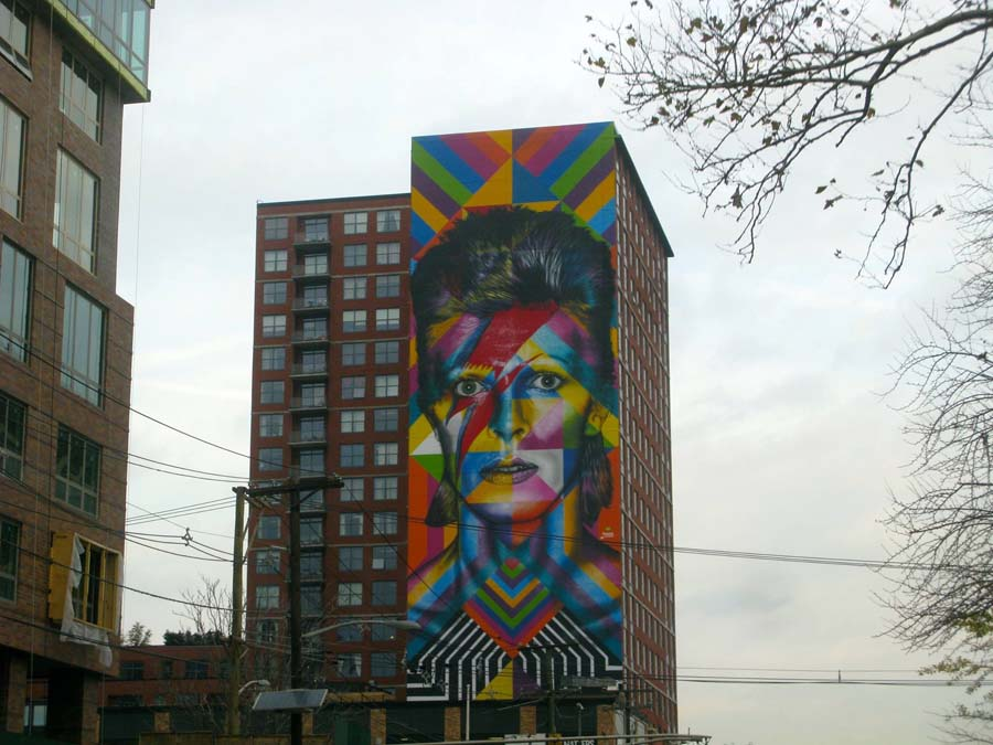 Building in Hoboken with David Bowie Mural