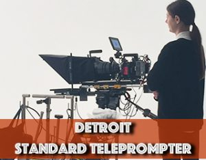 Standard Teleprompter, camera and young woman operator on set - Detroit