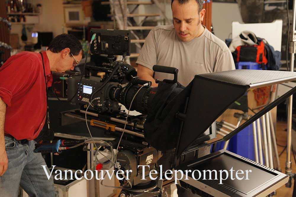 Two men operating Teleprompter on set - Vancouver Teleprompter