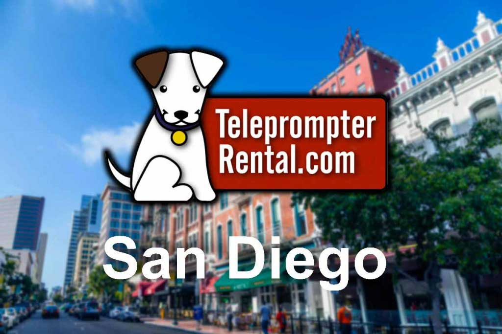Teleprompter Rental logo - superimposed on buildings in background - San Diego