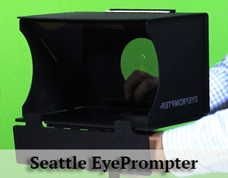 EyePrompter device agains green screen