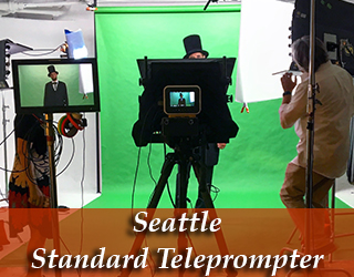 Standard Teleprompter and talent against green screen