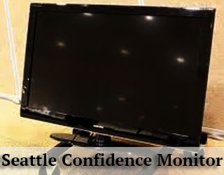 Confidence Monitor - lights reflected on screen - Seattle