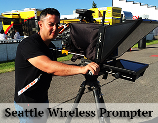 Michael Gonzalez in black operates Wireless Prompter on roof