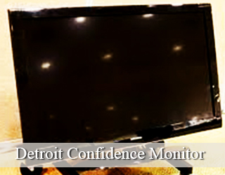 Confidence Monitor - lights reflected on screen - Detroit