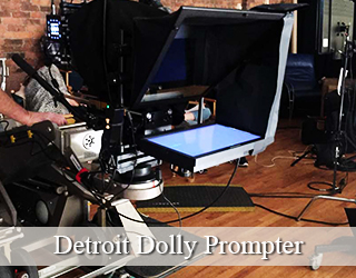 Dolly Prompter setup on set - Detroit