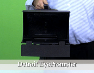 Man holding EyePrompter against green screen - Detroit