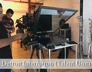 Crew members set up Interrotron Talent Unit on set - Detroit