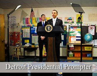 Presidential Prompter setup - President Obama and other man pictured