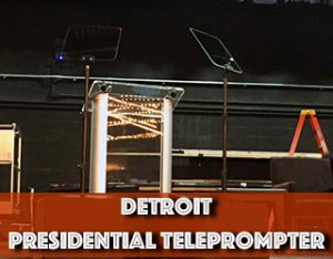 Presidential Teleprompter aka Speech Teleprompter and podium setup on stage