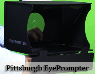 EyePrompter unit against green background - Pittsburgh