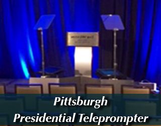 Presidential Teleprompter and Podium - blue curtains - Pittsburgh