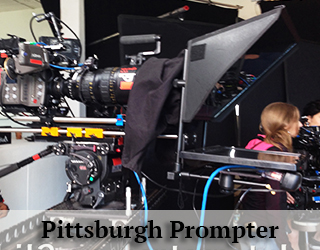 Prompter unit on set - girl in background - Pittsburgh