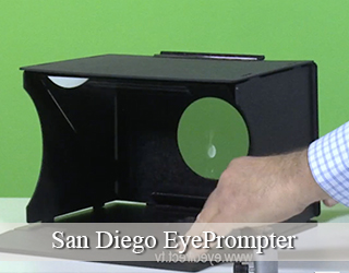EyePrompter unit set against green screen - San Diego