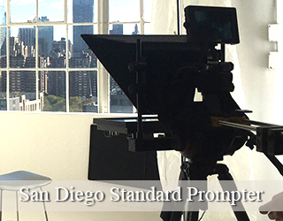 Standard Prompter setup inside - window in background - San Diego