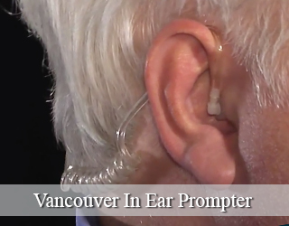 Close up of man's ear with In Ear Prompter