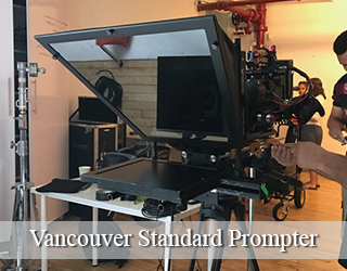 Standard Prompter unit on set - Crew in the background - Vancouver