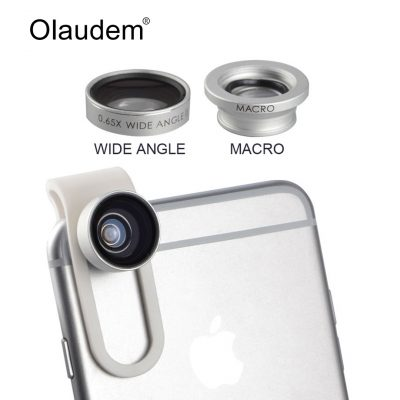 Clip-on wide angle and macro lens kit for iPhone