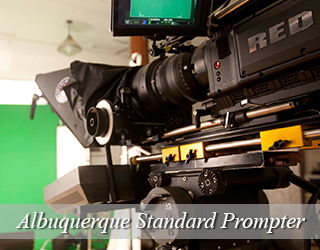 Standard Prompter unit setup - green screen in background - Albuquerque