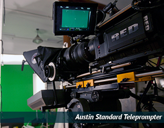Standard Teleprompter setup - green screen in background - Austin
